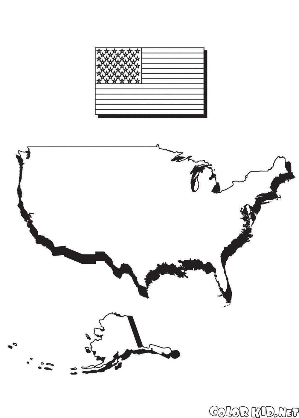 Mapa da América ea bandeira