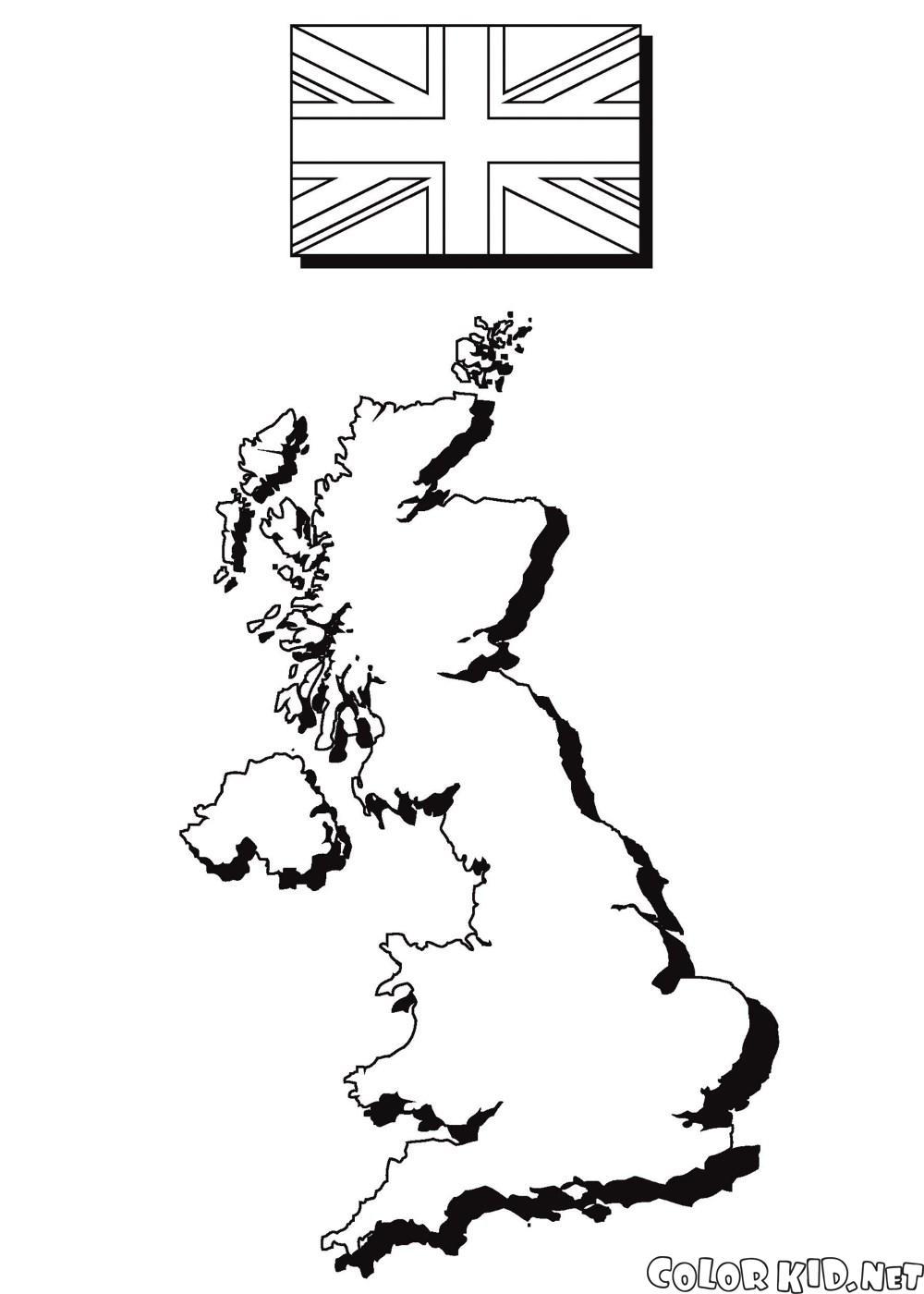 O mapa ea bandeira de Inglaterra